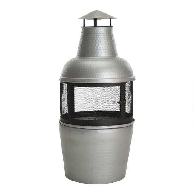 Silver Hammered Metal Chiminea