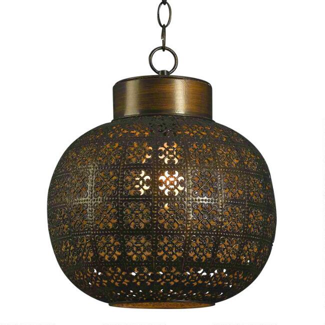 Aged Bronze Punched Metal Tile Pendant Lamp