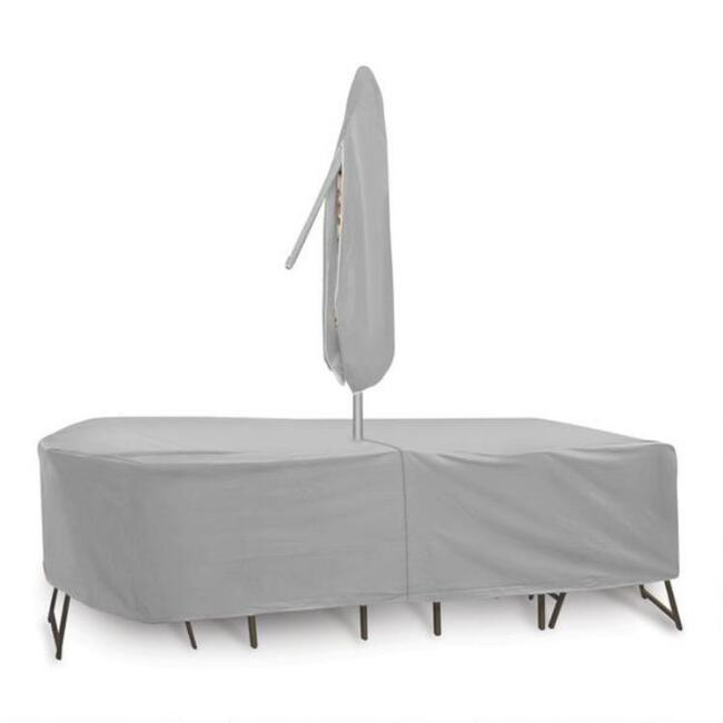 Rectangular Table Set Outdoor Cover with Umbrella Hole