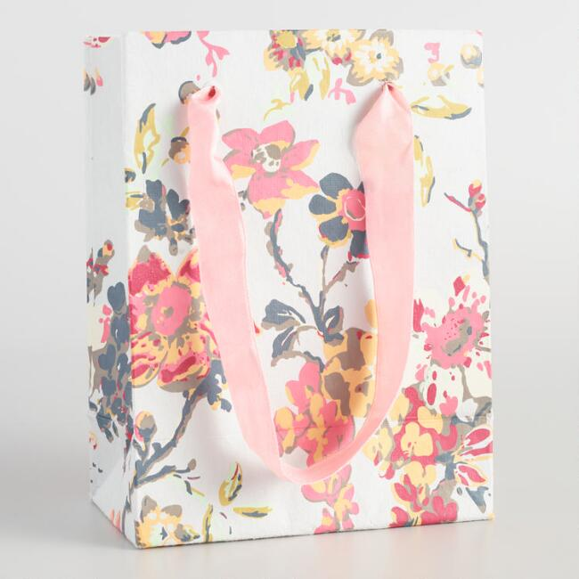 Small Floral Grace Floral Handmade Gift Bags Set of 2