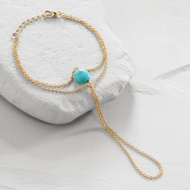 Gold and Turquoise Ring to Wrist Bracelet