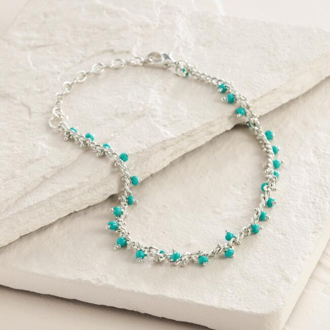 Silver and Turquoise Bead Anklet