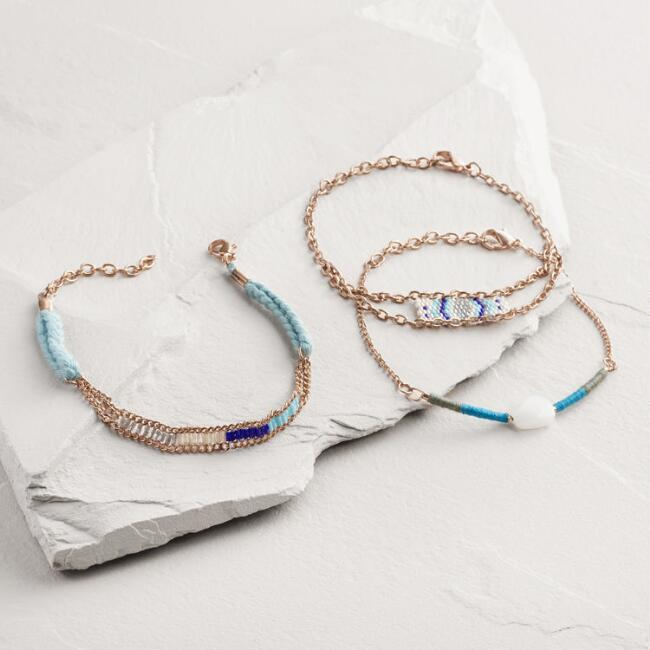Rose Gold Blue Bead and Chain Bracelets Set of 3