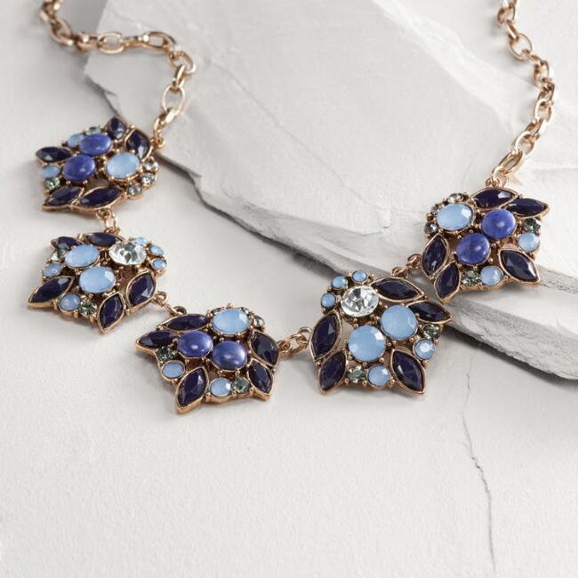 Gold Blue Jewel Statement Necklace