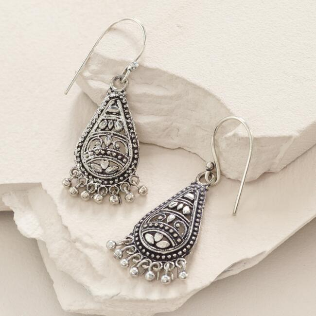 Silver Etched Drop Earrings