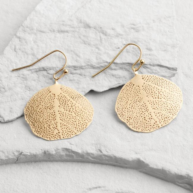 Round Gold Leaf Drop Earrings