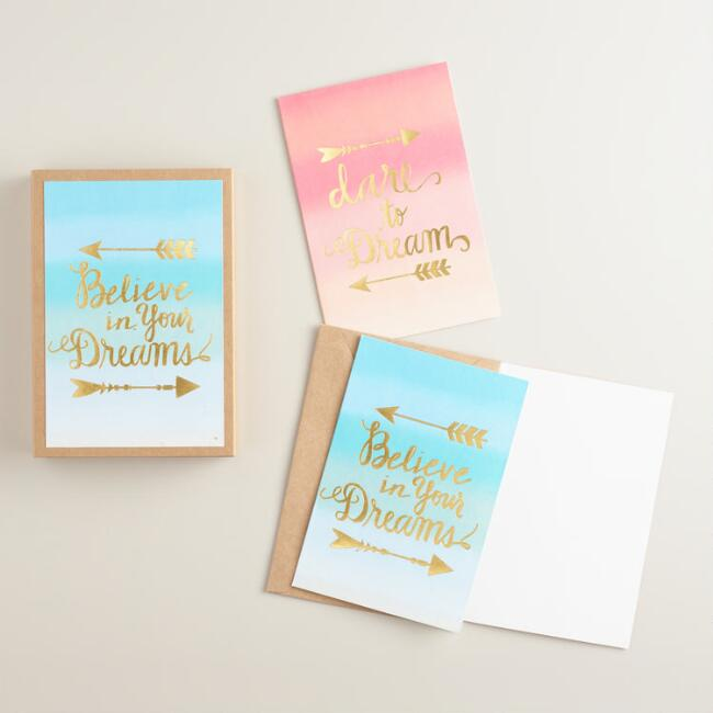 Gold Foil Ombre Notecards 16 Count