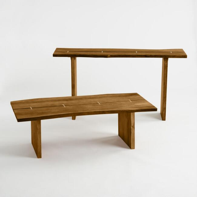 Wood Maleya Live Edge Accent Table Collection
