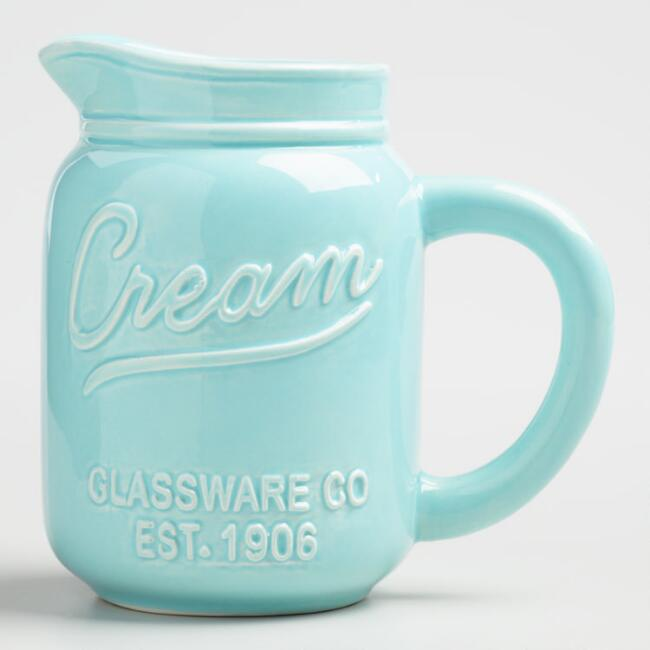 Blue Mason Jar Ceramic Creamer