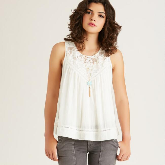 White Crochet Paloma Tank Top