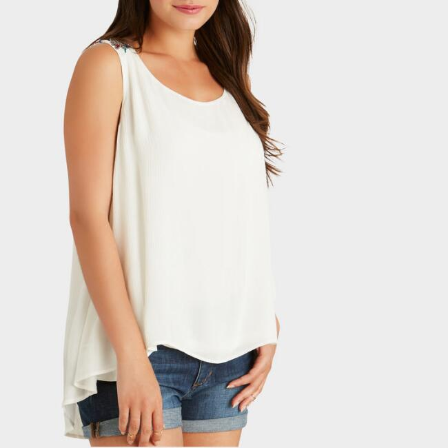 Ivory Embroidered Tova Tank Top