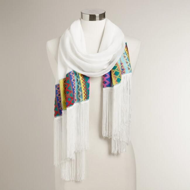 White Scarf with Multicolor Border