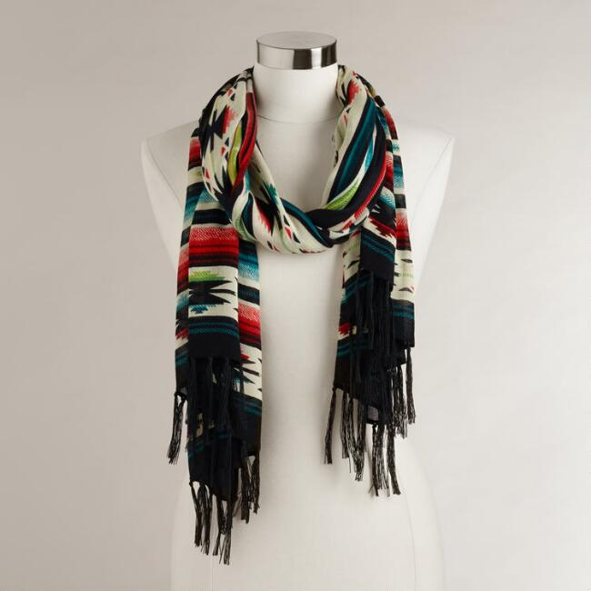 Black Southwestern Scarf with Fringe