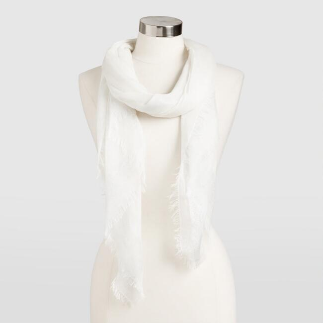 Sheer White Metallic Stripe Scarf
