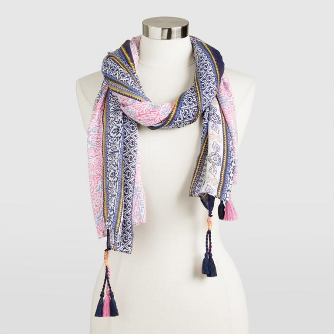Pink and Blue Border Scarf with Tassels