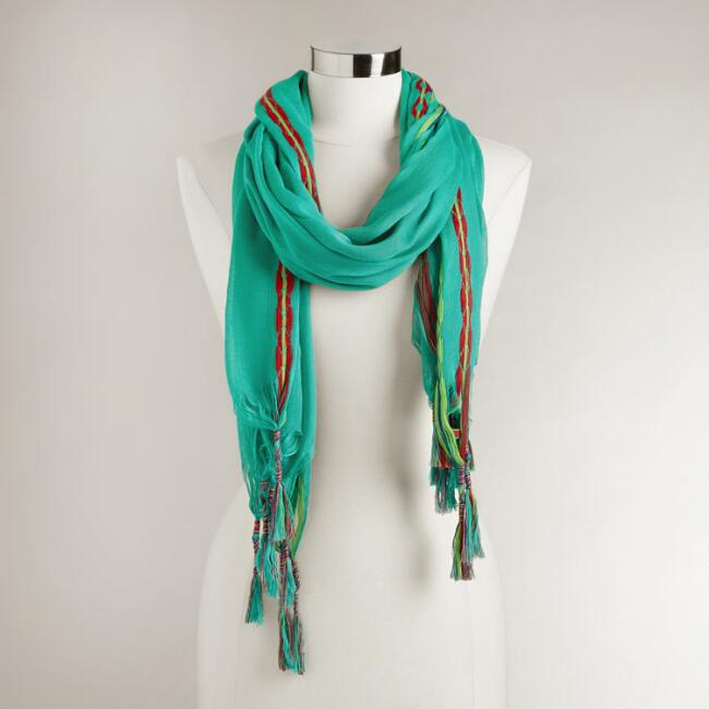 Turquoise Scarf with Woven Tassel Border