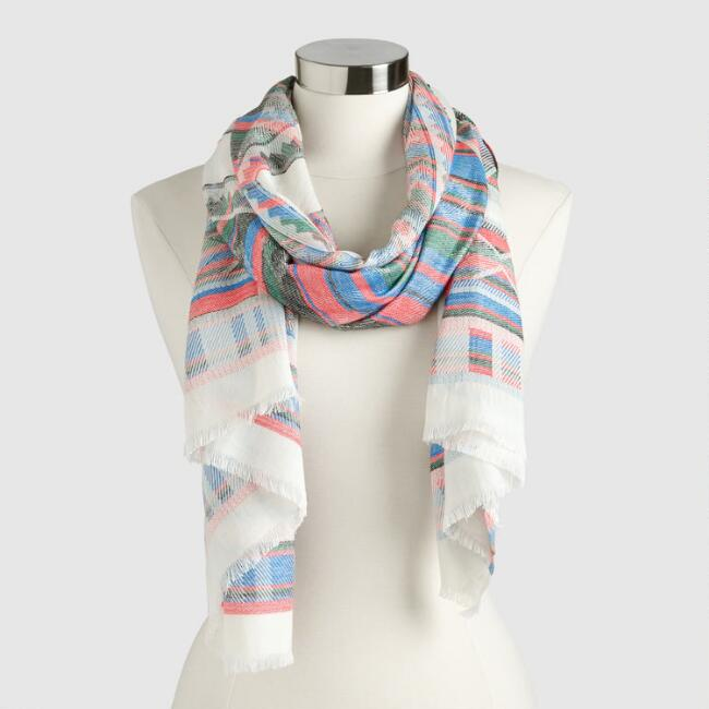 Ivory, Red and Blue Geometric Jacquard Scarf