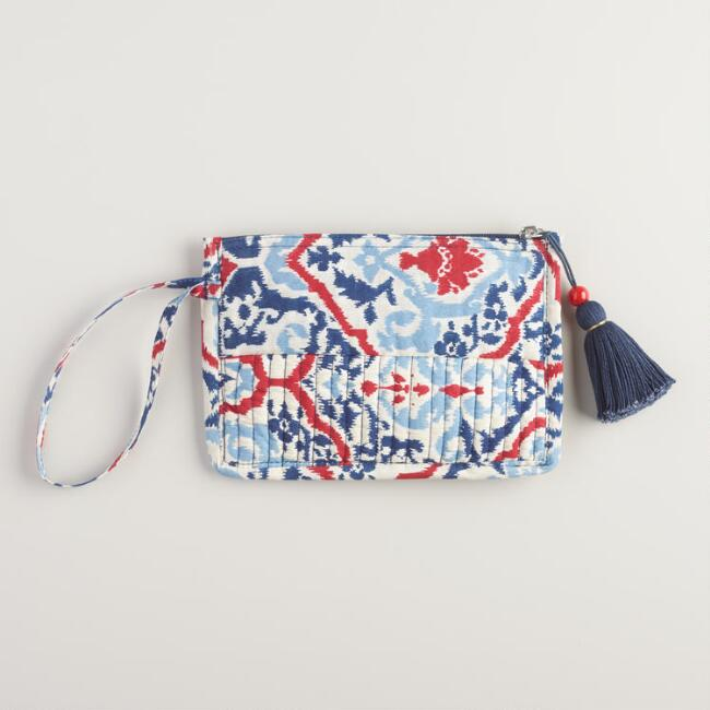 Red Blue and White Quilted Cosmetic Pouch