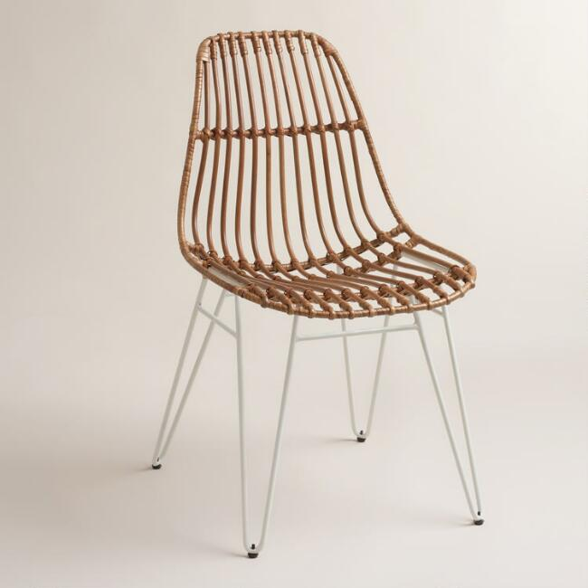 Rattan Flynn Hairpin Dining Chairs with White Legs Set of 2