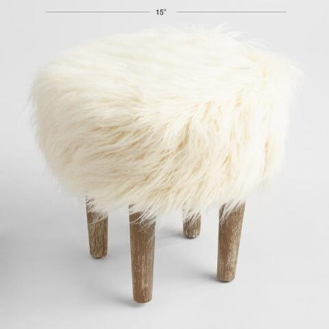 Miraculous Faux Flokati Stool Andrewgaddart Wooden Chair Designs For Living Room Andrewgaddartcom