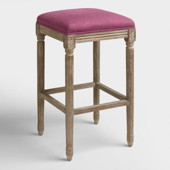 Raspberry Paige Backless Barstool