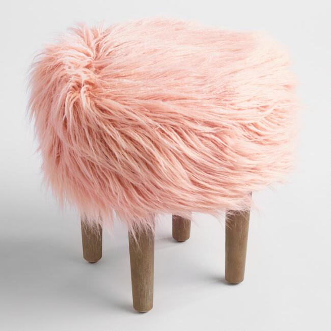 Blush Flokati Stool | World Market