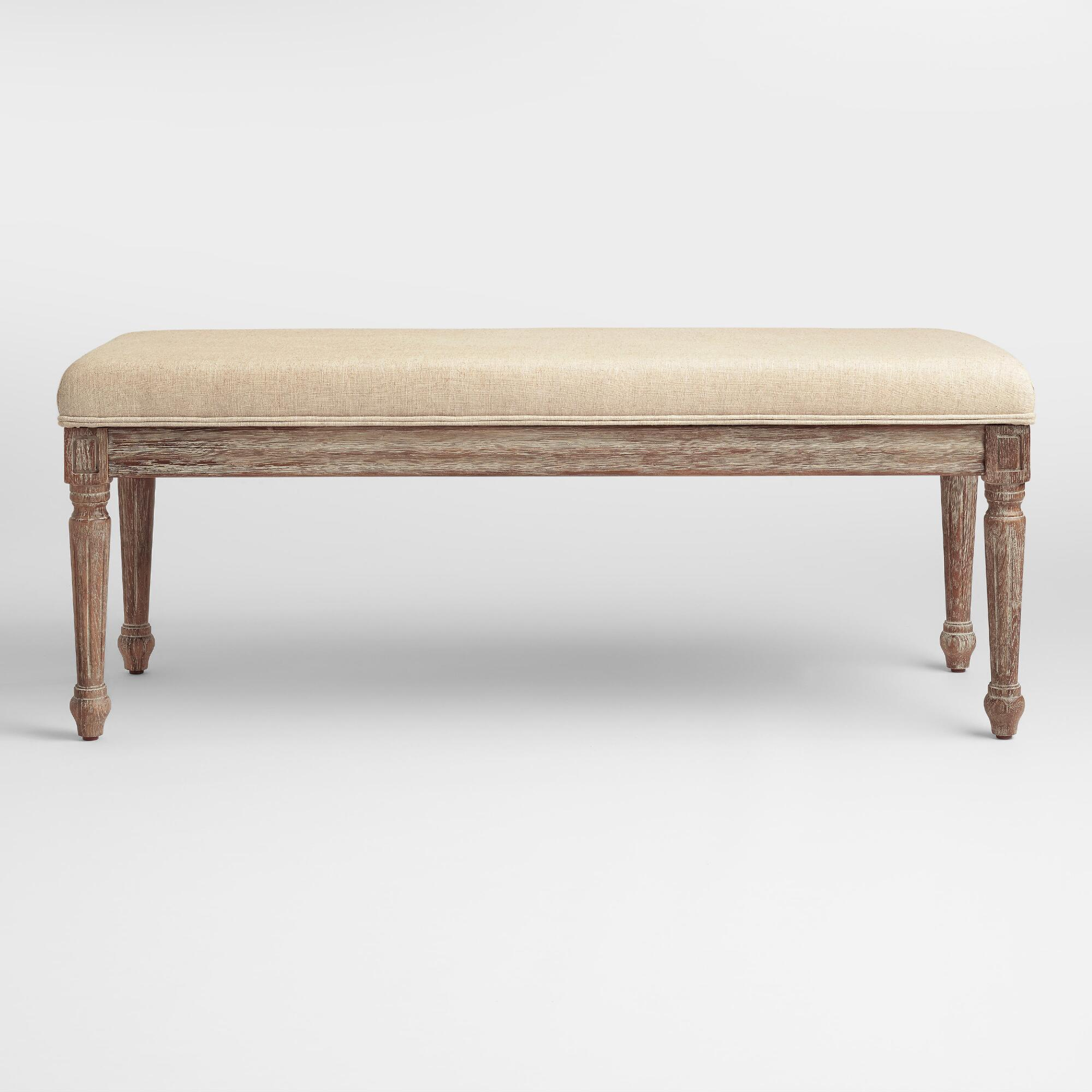 Natural Linen Paige Dining Bench | World Market