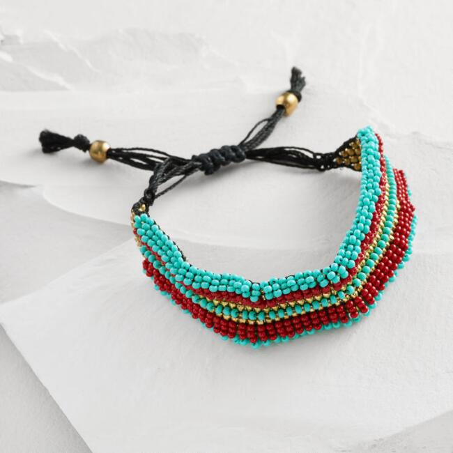 Red, Turquoise and Gold Bead Friendship Bracelet