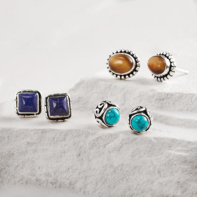Lapis, Tiger's Eye and Turquoise Stud Earrings Set of 3