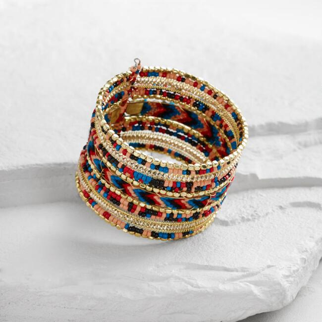 Gold, Coral and Navy Beaded Woven Cuff Bracelet