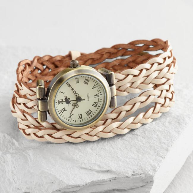 Braided Ivory Leather Wrap Watch