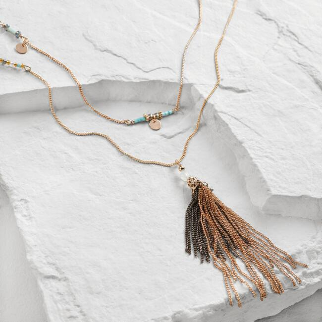 Turquoise and Gold Tassel Multi Strand Necklace