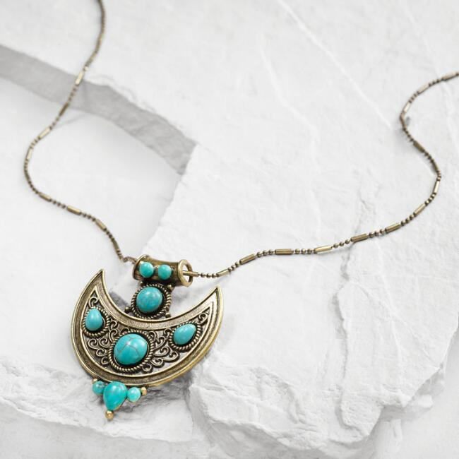 Long Gold Turquoise Tribal Pendant Necklace