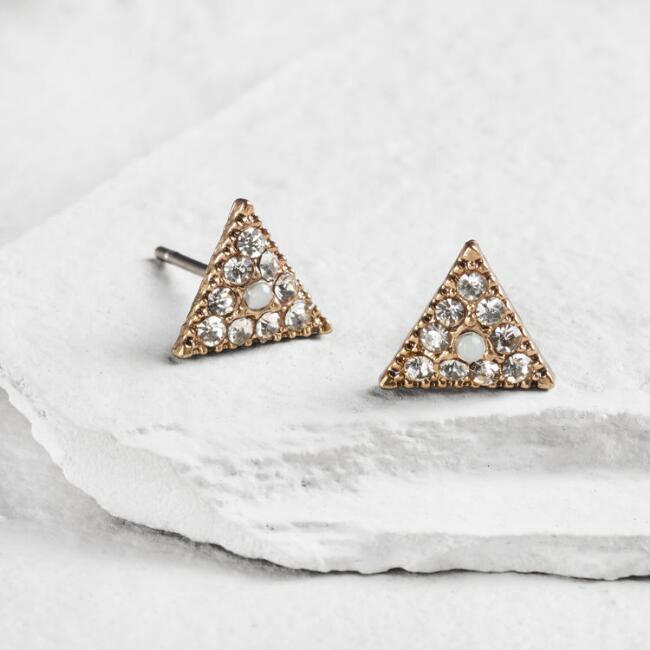 Gold Rhinestone Triangle Earrings