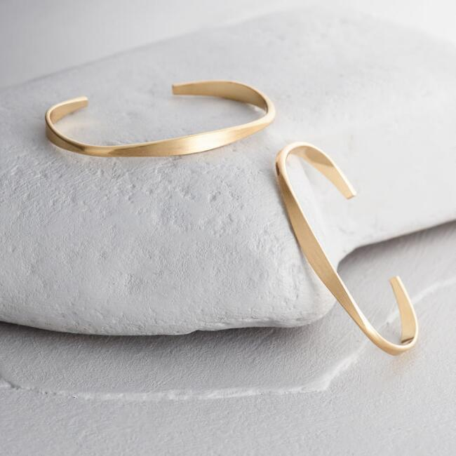 Matte Gold Cuff Bracelets Set of 2