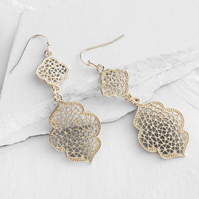 Gold Lantern Double Drop Earrings