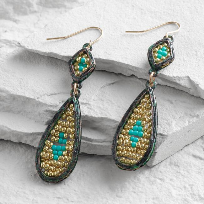 Gold Bead and Green Patina Drop Earrings