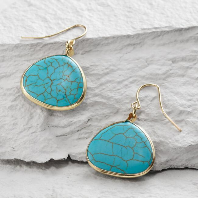 Gold Turquoise Stone Drop Earrings