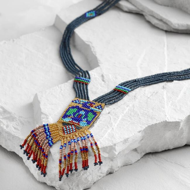 Navy Southwest Beaded Fringe Necklace