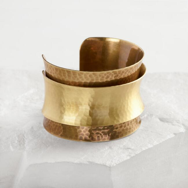 Brass Double Layer Cuff Bracelet