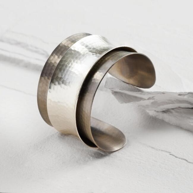 Gold and Silver Double Layer Cuff Bracelet