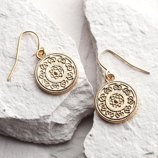 Gold Stamp Drop Earrings