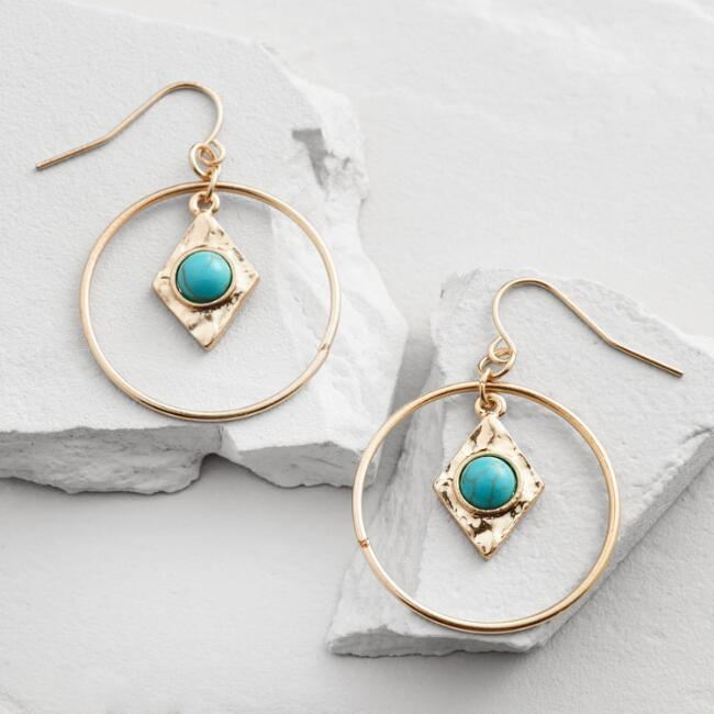Gold and Turquoise Triangle Hoop Earrings