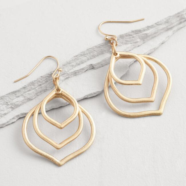 Gold Three Layer Teardrop Earrings