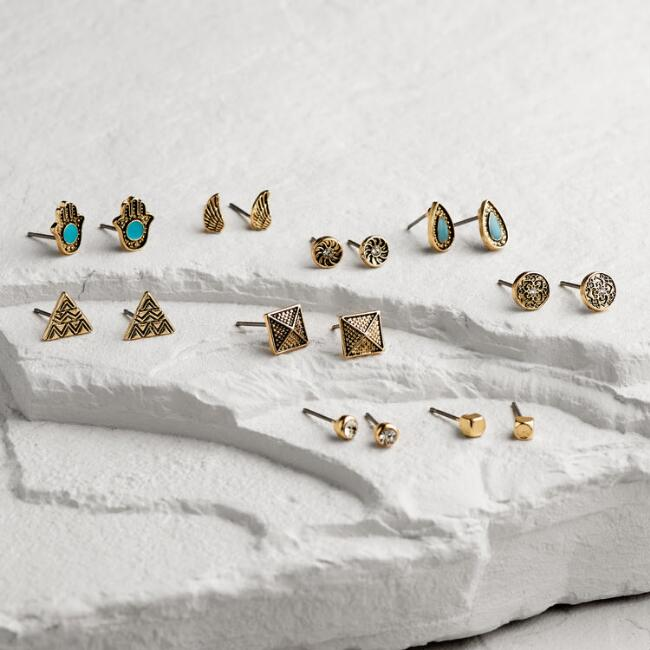 Gold Turquoise, Arrow and Feather Stud Earrings Set of 9