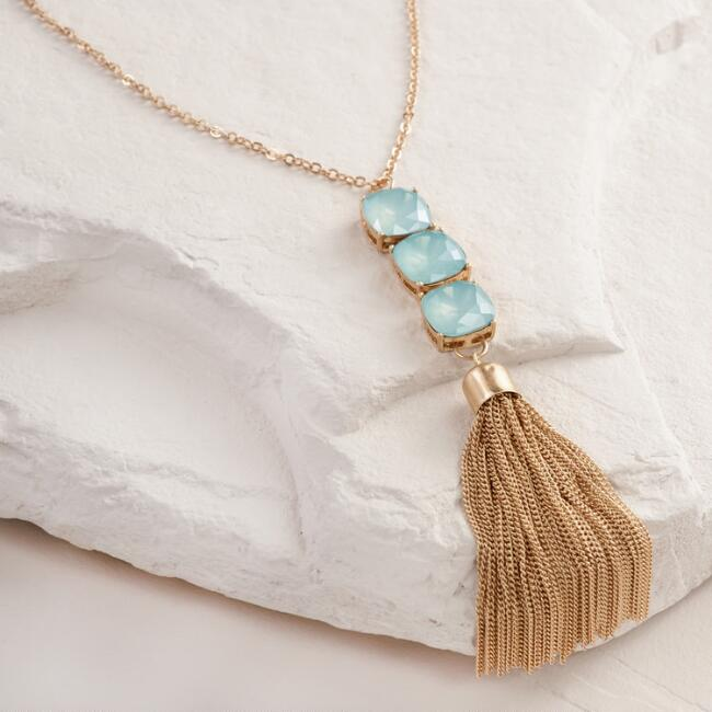 Gold Mint Stone and Tassel Necklace