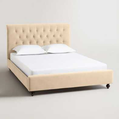 Buckwheat Velvet Erin King Upholstered Bed