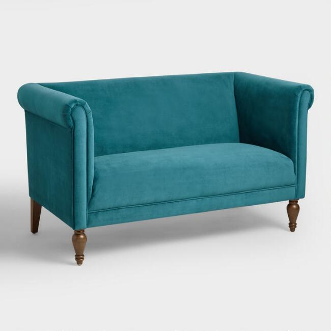 Pacific Blue Velvet Marian Loveseat