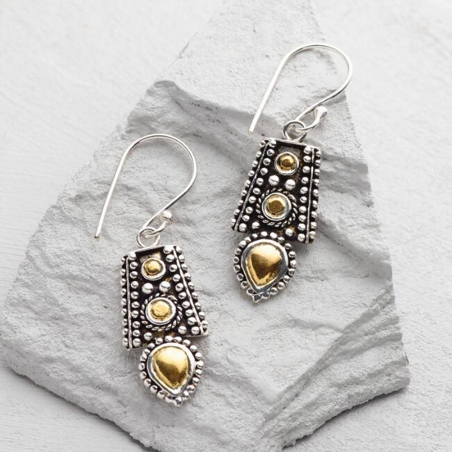 Silver & Gold Tribal Drop Earrings