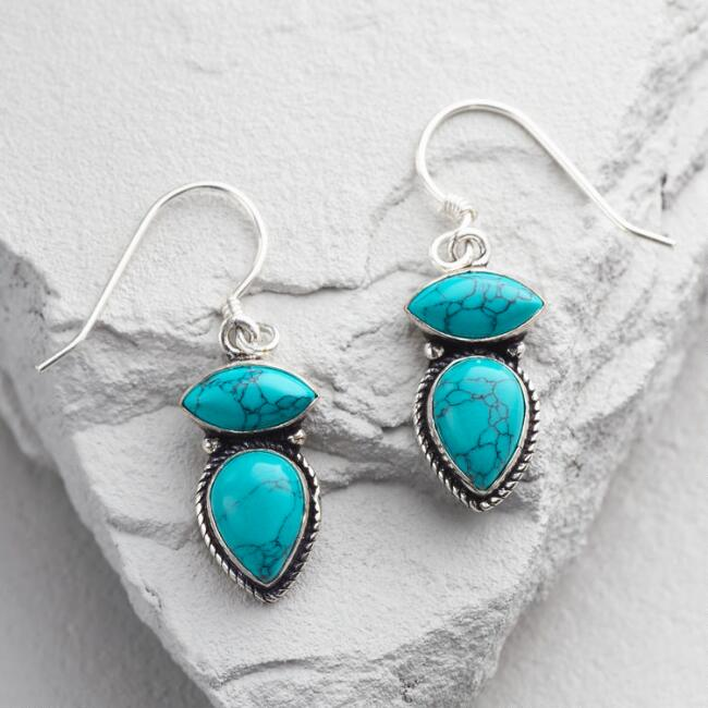 Silver and  Turquoise Double Drop Earrings